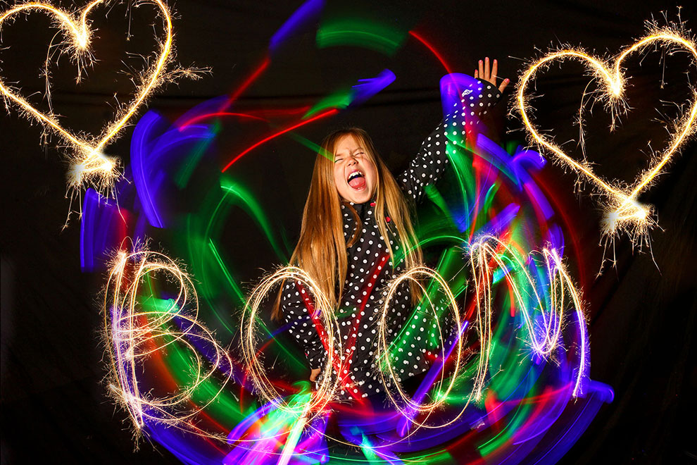 Light Painting Photo Booth Rainbows hearts Sola Light Bombing