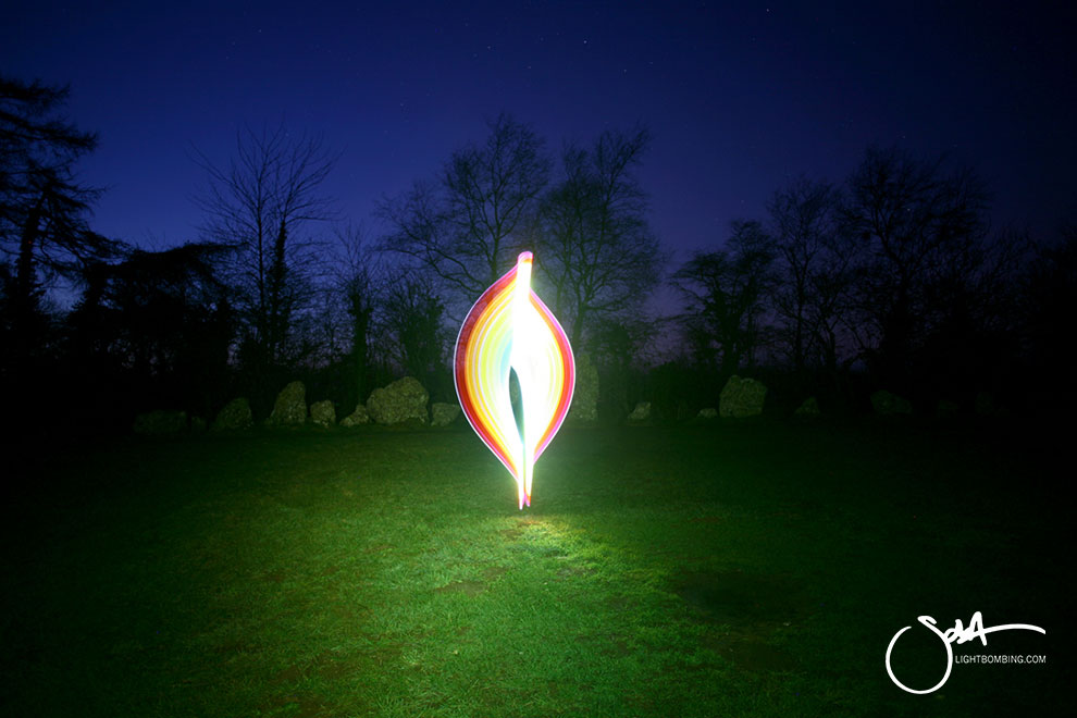 Stone CIrlce Light Painting Light Artist sola Light painting countryside at the roll right Stones