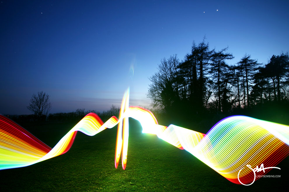 Light Artist sola Light painting countryside at the rollright Stones 6