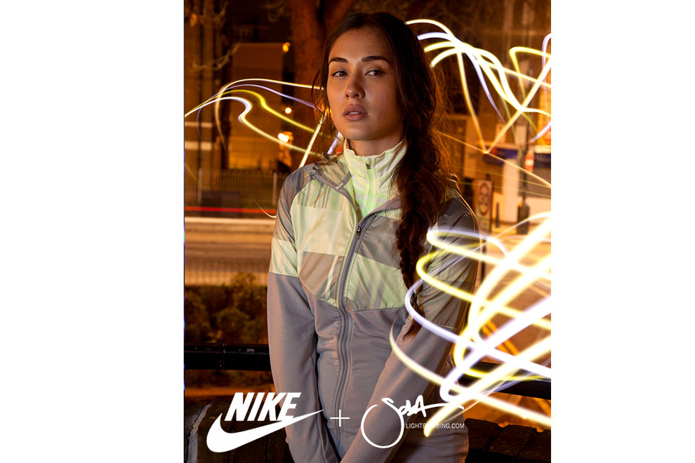 Nike Advertising Campaign Model Fashion wearing running kit Light Graffiti by Sola