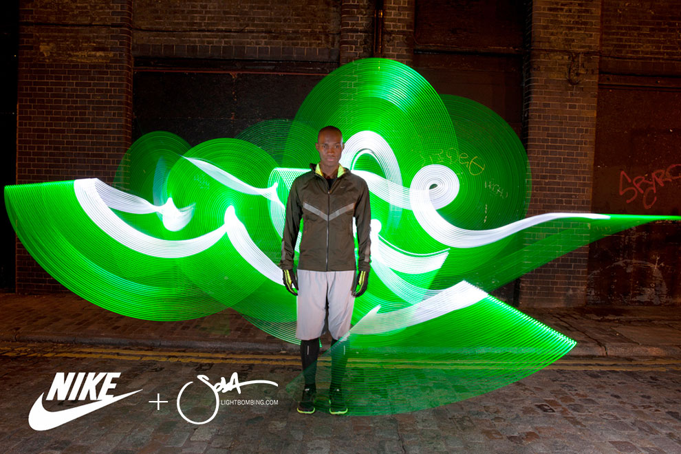 Nike Advertising Campaign Male Model Fashion wearing running kit Light Graffiti by Sola