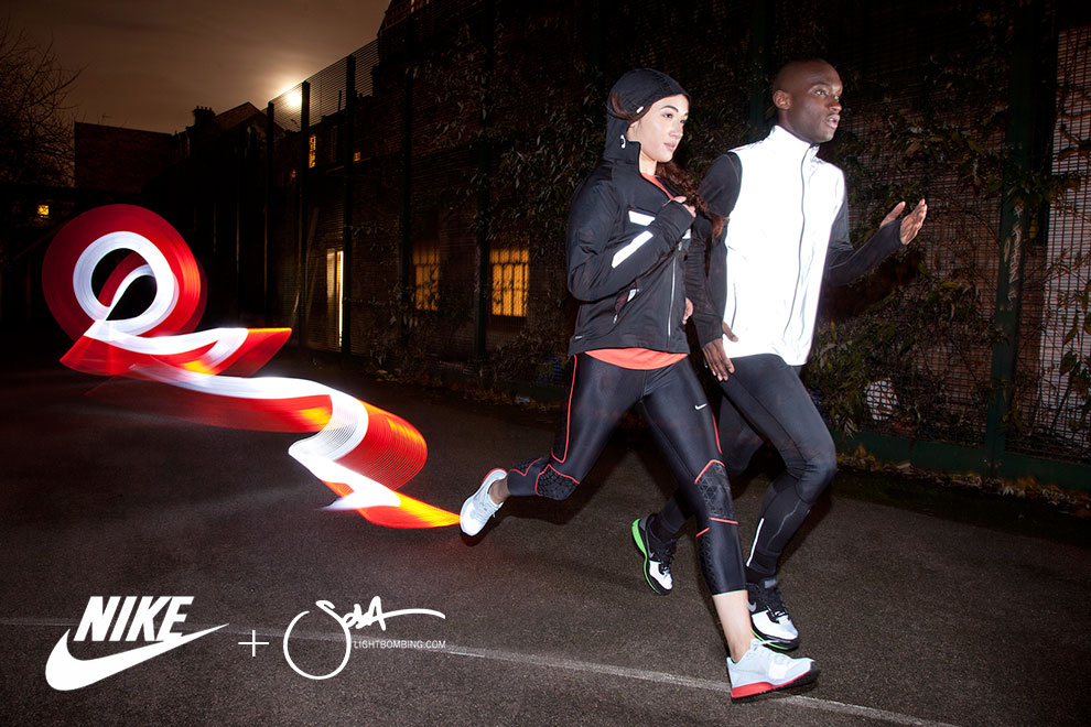 Nike Running Advertisment campaign Sports Light painting London Night Light graffiti by Sola