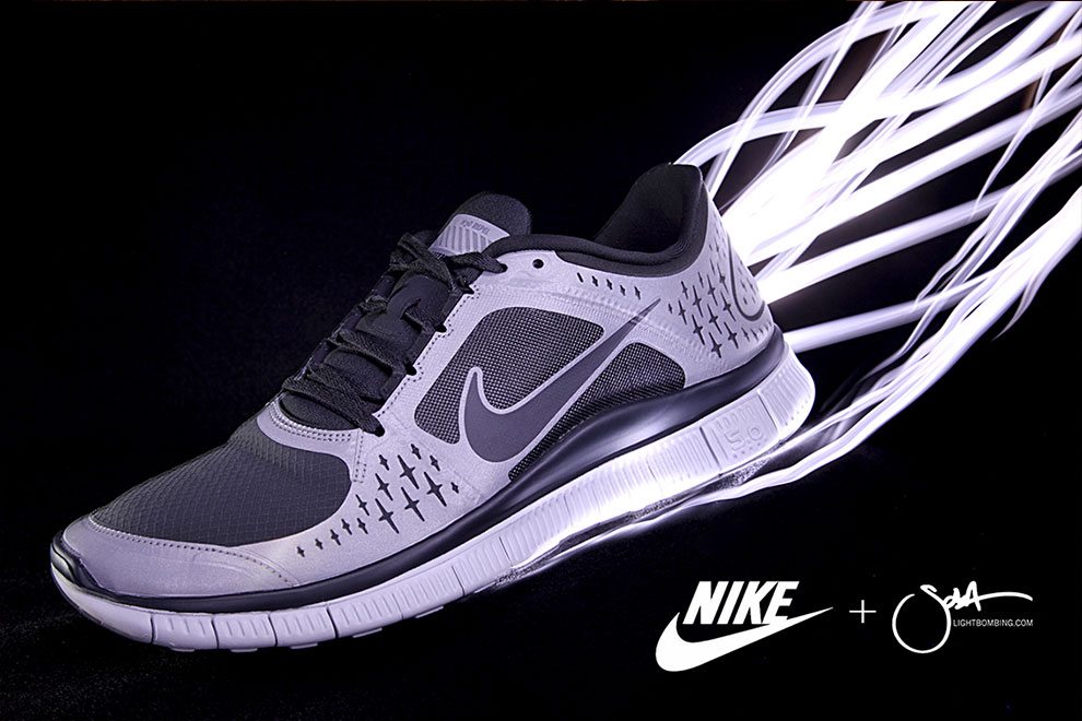 Nike Freerun shoe Light Painting Footwear product photography by Sola