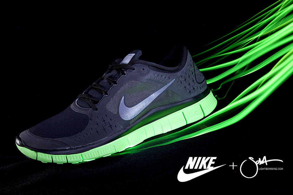Nike running shoe Light Painting Footwear product photography by Sola