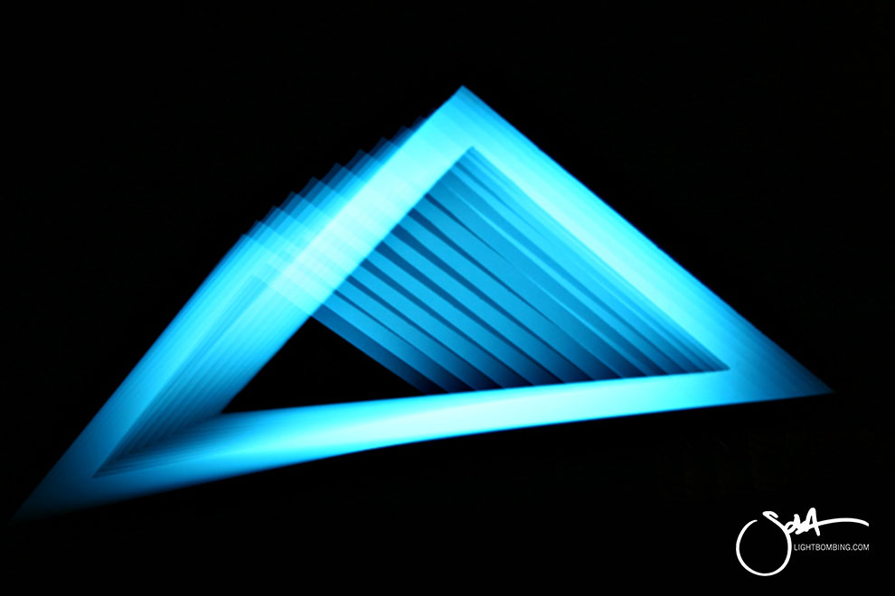 Escher Light Art Geometric Perpetual Portal Blue triangle of light like MC Escher