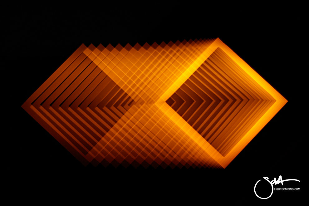 Light Art Geometric Perpetual Portal gold triangle of light like MC Escher