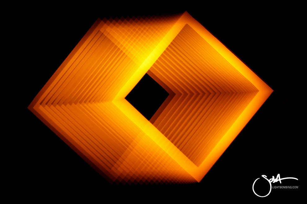 Golden cube Light Art Geometric Perpetual Portal gold square of light like MC Escher