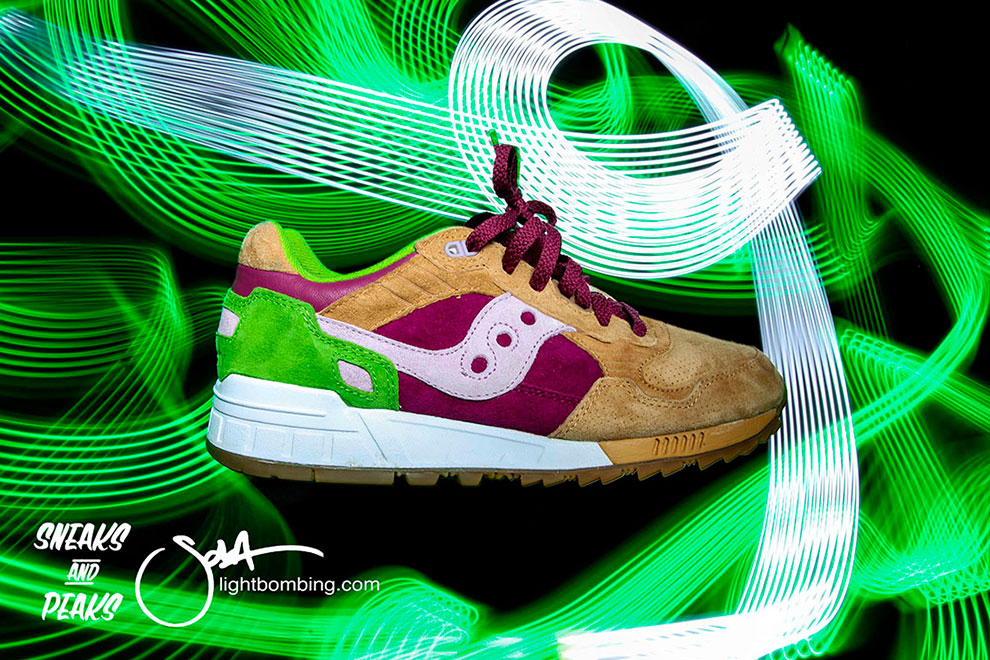 Saucony Ltd Edition Burger sneaker show light graffiti Light Art Sola Sneaks and Peaks Birmingham