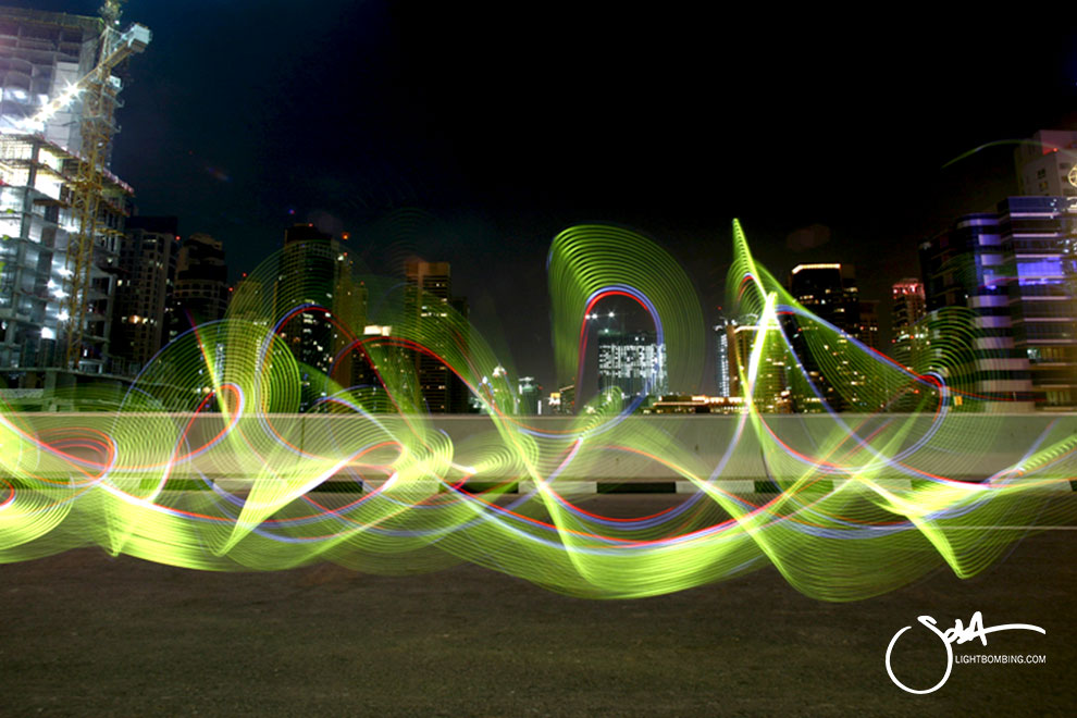 Dubai MArina Light Painting Light Graffiti Master Best by Sola in city street