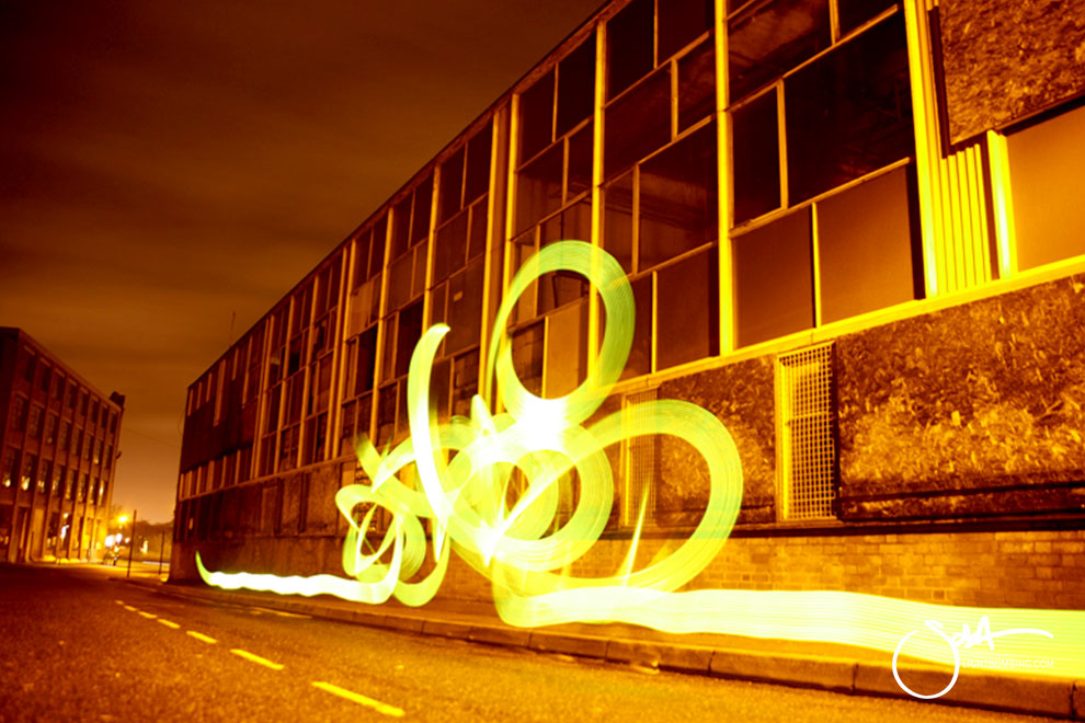 Light Painting Light Graffiti Master Best by Sola ribbon of golden light in city street