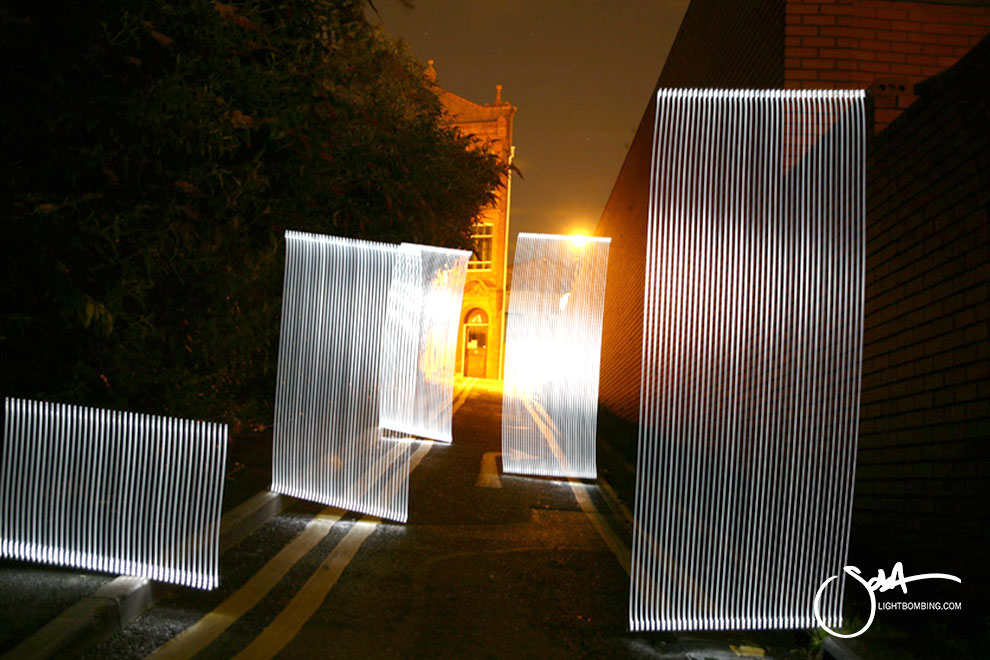 Light Painting Light Graffiti Master Best by Sola White columns of light erupting from road Light sculpture