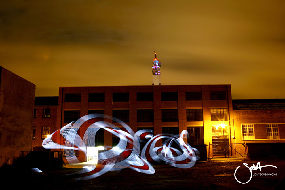 Light Painting Light Graffiti Master Best by Sola white light sculpture in city street urban art
