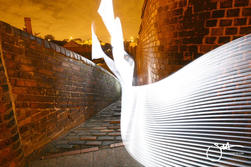 Birmingham Canal Light Painting Light Graffiti Master Best by Sola white light sculpture in city street urban art