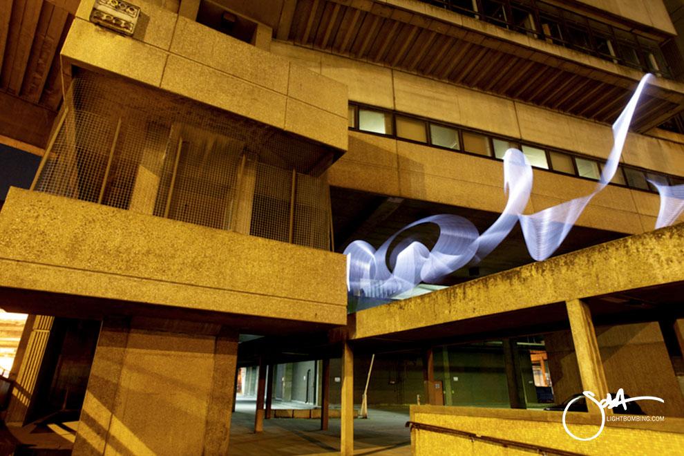 Paradise Circus Birmingham Light Painting Light Graffiti Master Best by Sola white light sculpture in city street urban art