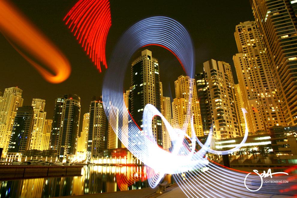 Dubai Marina Light Graffiti Urban City by Sola light bombing
