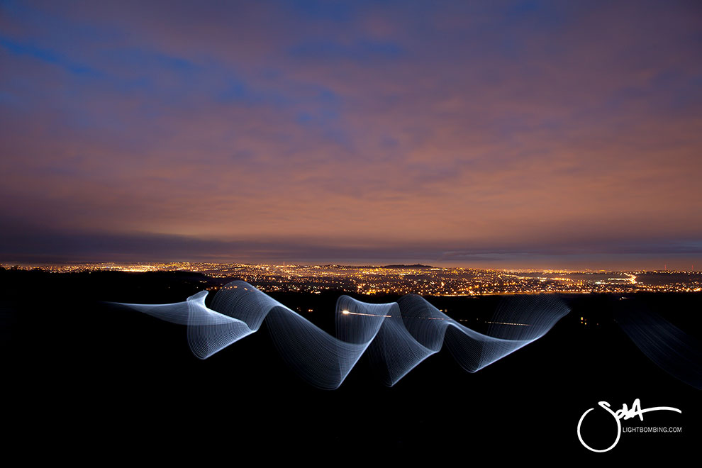 Clent Hills Light art by Sola Birmingham at night
