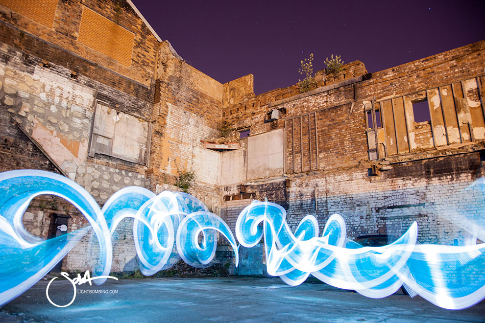 blue ribbon of light Light Graffiti Light Painting Sola Master Pixelstick light graffiti in urban city