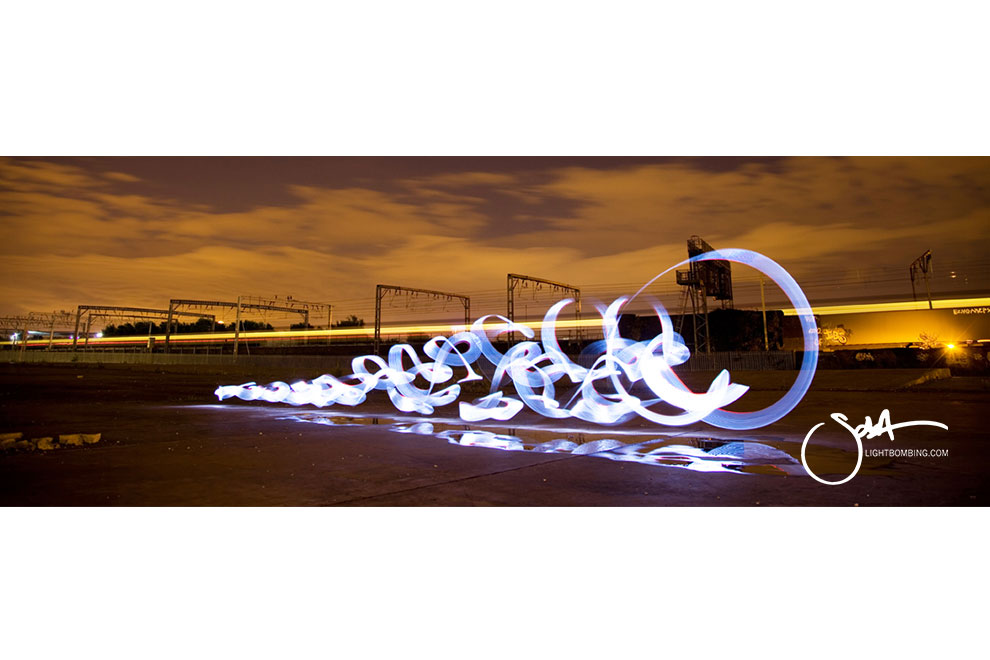 Birmingham New Street Station  Gateway Public art Sola Lightbombing Light Graffiti Regenerated Hill Street Birmingham