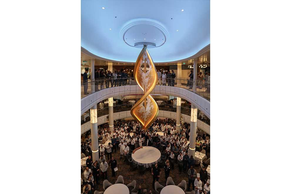Light Art Sculpture on a Royal Caribbean Cruise Ship by artist Peter Medlicott sola.